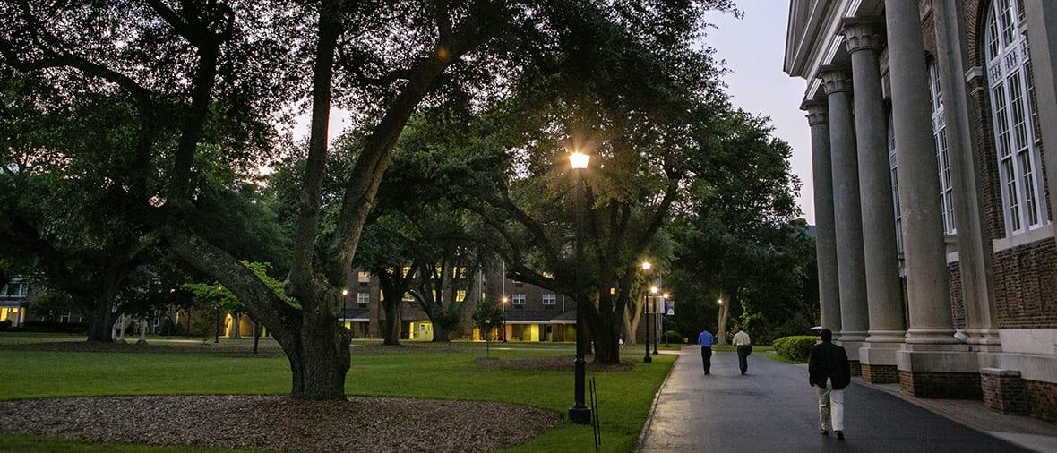sidewalk at dusk
